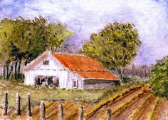 """Planting Time"" Original ACEO Miniature Watercolor Barn Landscape Painting ~ BRJ #Miniature"