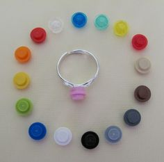 Round LEGO stud silver adjustable ring in your choice of 16 colors