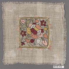 Square  Date:     19th century Geography:     Turkey Culture:     Islamic Medium:     Cotton, silk, and metal wrapped thread; plain weave, embroidered