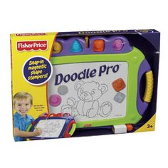 $19.99 - Let?s Doodle!Improved look with all the same great features that make drawing with Doodle Pro convenient.rIncludes:• A large drawing screen• Easy slider eraser• And 4 snap fit shaped stampers•rTwo handles and a centrally located pen make drawing on-the-go easy.• Fun for all kids who have their creative side.rPRODUCT HAS THE 2 MAGNETS AND THE PEN INCLUDED Looking For Travel Toys? Look no further and click here!