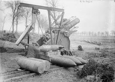MINISTRY INFORMATION FIRST WORLD WAR OFFICIAL COLLECTION (Q 2844)   British 12-inch howitzer with shells. Near Arras, 11 September 1917.