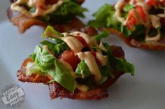BLT bites with Chipotle Mayo in bacon cups. i'm going to find the best way to make a blt bite!