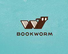 """Adorable """"Bookworm"""" logo! -- Click through for more """"Animals Logo Designs Inspiration."""""""