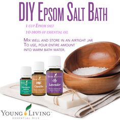 DIY Epsom Salt Bath Ingredients: 1 cup Epsom salt 10 drops of essential oil--we suggest Lavender, Copaiba, or Eucalyptus Radiata Mix well and store the bath salts in an airtight jar. To use, pour entire amount into warm bath water. Yl Essential Oils, Young Living Essential Oils, Yl Oils, Pure Essential, Epsom Salt Bath, Bath Salts Recipe, Bath Recipes, Living Essentials, Young Living Oils