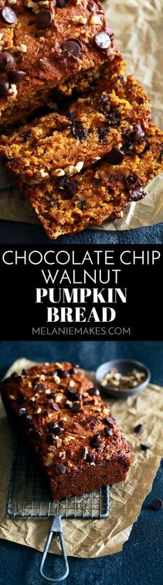This Chocolate Chip Walnut Pumpkin Bread is such a crowd pleaser.  An insanely moist pumpkin bread base is dotted with chopped walnuts and chocolate chips and kissed with cinnamon.  This will no doubt be an autumn favorite as soon as the scent of it baking in the oven starts wafting through your home.