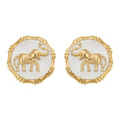 Elephant Earrings in White and Gold