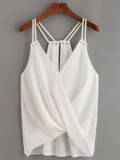Details about Fashion Women Sleeveless Crop Top Vest Tank Shirt Loose Chiffon Blouse Cami Tops - - Strappy Crop Top, Sleeveless Crop Top, Style Casual, Casual Tops, White Casual, Casual Shirt, Diy Vetement, Summer Blouses, Summer Tops