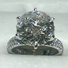 5.50 carat diamond engagement ring set in 14k white gold