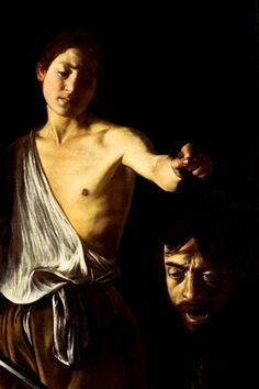 Caravaggio--I love the story behind this painting: Caravaggio painted his own head, dismembered