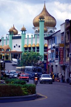 The city of Kuching, Sarawak, Malaysia with old State Mosque on the background