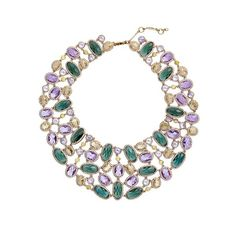 Women's Jenny Packham Drama Jewel Collar Necklace (2,965 GTQ) ❤ liked on Polyvore featuring jewelry, necklaces, multi colored necklace, tri color necklace, colorful jewelry, tri color jewelry and jenny packham