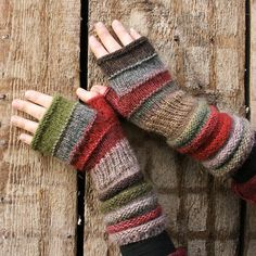 Lingonberry Tea Striped Fingerless Unmatched Hand Knit Mittens knit with upcycled wool and kid mohair Fingerless Gloves Knitted, Crochet Gloves, Knit Mittens, Knitted Hats, Knit Crochet, Striped Mittens, Crochet Arm Warmers, Wrist Warmers, Hand Warmers