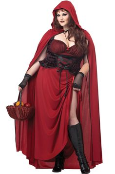 Dark Red Riding Hood Plus Size Costume includes a dress, cloak, and basket hanky. This Halloween, tempt the Big Bad Wolf with your delicious goodies with this sexy costume!