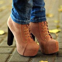 Neutral Lace up thick heeled booties... For some reason I've always wanted a pair of these