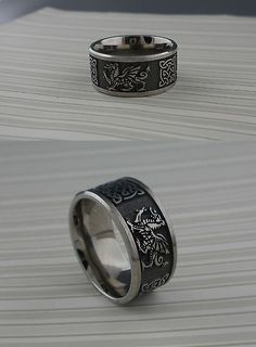 Rings 98487 Wide Titanium Celtic Knot And Welsh Dragon Wedding Ring Made In Uk Size