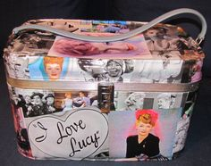 Made to Order:  I love Lucy Lucille Ball theme vintage train case makeup bag suitcase luggage one of a kind by Rhonda Gelstein of Funky Stuff Gifts. www.facebook.com/funkystuffgifts