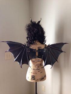 Dragon bat demon leather wearable halter wings