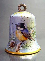 Zvonek * bílý porcelán s ručně malovaným ptáčkem ♥