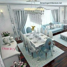 Lovely, subtle colors, beautiful chairs and that chandelier! This all results in a wonderfully designed living room. Interior Design Living Room, Living Room Designs, Living Room Decor, Bedroom Decor, Dining Room, Classic Curtains, Elegant Curtains, Hall Curtains, House Design