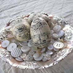 Piano sheet music on eggs