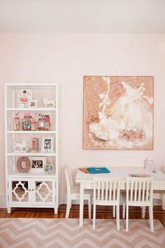 Caitlin Wilson Design: Beautiful girls bedroom with pastel pink walls and white dress wall art. Jonathan Adler, Caitlin Wilson Design, Pink Paint Colors, Daughters Room, Beautiful Interior Design, Modern Interior, Family Room Design, Pink Room, Little Girl Rooms