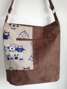 Handmade shoulder handbag/ owl fabric/ handbag/ Swoon /Bonnie