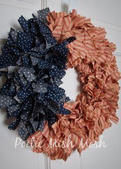 "American Flag Wreath - Rag Wreath - Stars & Stripes ""Old Glory""- Vintage Americana Wreath."