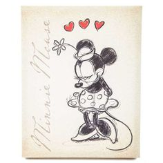 Tan Vintage Minnie Mouse Canvas Wall Art