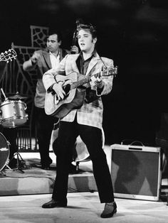 Elvis Presley's first appearance on the Ed Sullivan Show, broadcast from Los Angeles, Sept. 9, 1956.