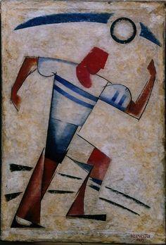 Alexander Rodchenko (Russian, 1891-1956), Footballer. Oil on canvas, 82 x…