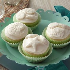 We've found a beautiful way to use our Sea Life Fondant and Gum Paste Mold --  with Frozen Buttercream! Use Wilton Ready-To-Use Decorator Icing to make the seaworthy shapes that top these cupcakes and pop them in the freezer. A great effect that's so easy to do!
