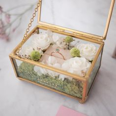 Measurements - L x W x H *this item does not come personalized* Rustic Wedding Gifts, Wedding Gift Boxes, Wedding Favours, Flower Box Gift, Flower Boxes, Fundraiser Baskets, Ring Holder Wedding, Creative Gift Wrapping, How To Preserve Flowers