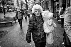 Aged lady in the winterly streets of Zurich carrying a teddy bear under her arm as if it's her spouse. Street Pictures, Winter Jackets, Fashion, Winter Coats, Moda, Winter Vest Outfits, Fashion Styles, Fashion Illustrations