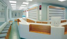 Eczanenin satış bankosu, rafları ve oturma birimleri özel olarak tasarlanmıştır. Tavanda asma tavan, zeminde ise karo seramik kullanılmıştır. Ana renk olarak beyazın tonu, ikinci renk ise açık renk ahşap kaplama kullanılmıştır.