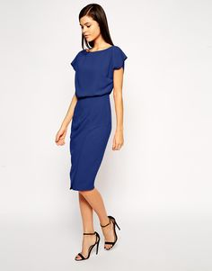 Image 1 of ASOS Pencil Dress with Shell Top and Split Front