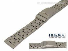 Watch band titanium 20mm plain elegant deployant clasp by Herzog - Bild vergrößern