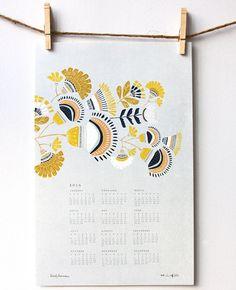 2014 Harvest Wall Calendar by leahduncan on Etsy, love the design and color scheme. Design Poster, Graphic Design, Posca Art, Printable Calendar Template, Calendar Design, Art Graphique, Letterpress, Watercolor Art, Pattern Design