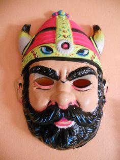 Vintage 1950's Viking Mask by awfulwaffles on Etsy, $22.00