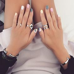 dani song mixes pastels with grey for this pastel mani | pastel nails