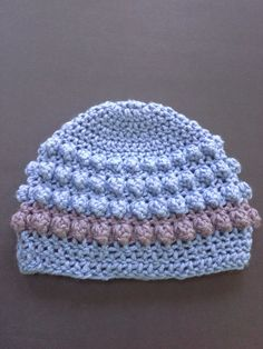 Blue and gray striped baby hat blue baby by BloomingRoseCrochet