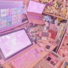 Cute Room Ideas, Cute Room Decor, Girl Bedroom Designs, Room Ideas Bedroom, Kawaii Bedroom, Tout Rose, Video Game Rooms, Video Games, Gaming Room Setup
