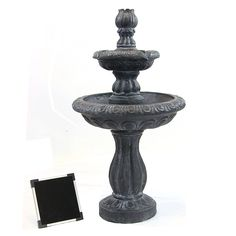 Sunnydaze Two Tier Tulip Solar-on-Demand Fountain, Black Finish