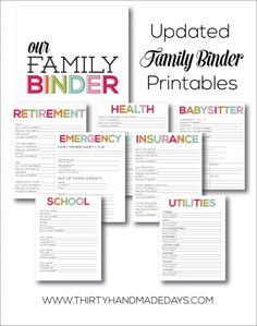 Updated Family Binder Printables- 8 amazing printables to help you create a binder for all of your most important information by www.thirtyhandmadedays.com