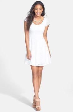 Soprano Lace Cap Sleeve Skater Dress (Juniors) | Nordstrom
