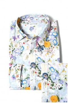 Robert Friedman Shirt - Model James - cotton shirt with long sleeve fancy flowers, slim fit, soft collars. Robert Friedman Shirts Spring Summer Collection 2013.