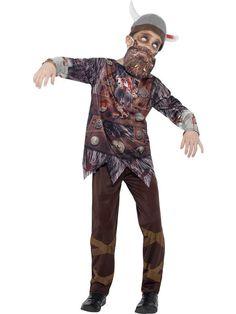 Disfraz de vikingo zombie niño Halloween: Este disfraz de zombie vikingo para niño incluye camiseta, pantalón, sombrero y barba falsa (zapatos no incluidos).La camiseta tiene estampado en la parte delantera de uniforme vikingo...