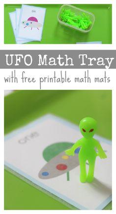 math tray actiities preschool  space theme