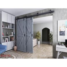 Our best-selling bypass barn door hardware kit! Made from powder-coated steel, this kit includes everything you will require to hang 2 sliding doors. Barn Door Closet, Diy Barn Door, Rustic Barn Doors, Barn Door Decor, Barn Door Pantry, Barn Doors For Sale, Bypass Barn Door Hardware, Door Hinges, Sliding Closet Doors