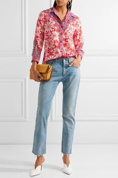 Anna Sui - Embroidered Printed Silk-crepon Shirt - Pink - US12