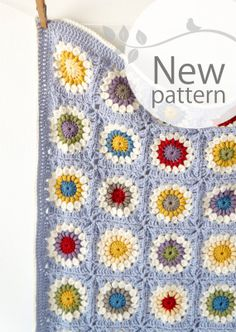 Sunshine Granny Square Baby Blanket Crochet Pattern PDF Instant Download Cot Pram Sunburst